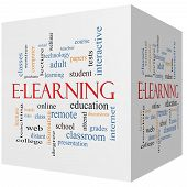E-learning 3D Cube Word Cloud Concept