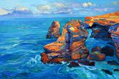 foto of canvas  - Original abstract oil painting of cliffs and ocean on canvas - JPG