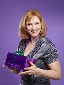 Beautiful Woman Portrait With Present Box