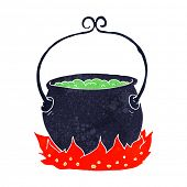 stock photo of witches cauldron  - cartoon witch - JPG