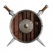 stock photo of berserk  - Two swords and wooden round shield isolated - JPG
