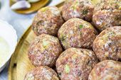 Raw Meat Balls Minced Beef Prepared Roll Breadcrumbs