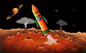 image of outerspace  - Illustration of an orange rocket in the outerspace - JPG