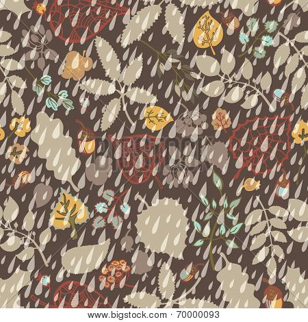 Autumn seamless pattern,Rain,leaves, branches