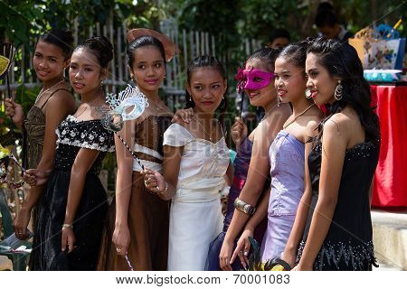 Filipino girls In The School Yard Have A Masquerade Ball