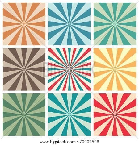 Abstract Retro Sun Burst Background Set