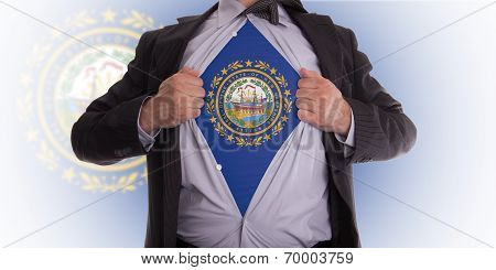 Businessman With New Hampshire Flag T-shirt