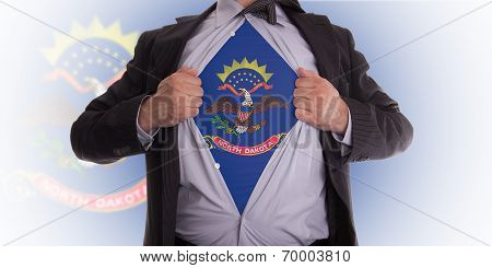Businessman With North Dakota Flag T-shirt