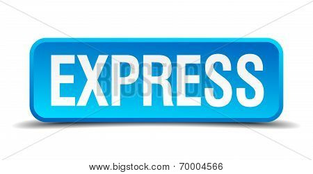 Express Blue 3D Realistic Square Isolated Button