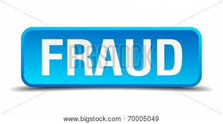 Fraud Blue 3D Realistic Square Isolated Button