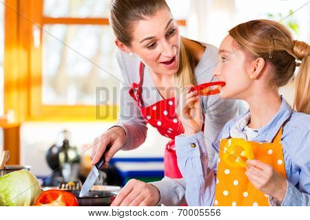 Mother and daughter cooking in domestic kitchen having fun together