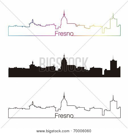 Fresno Skyline Linear Style With Rainbow