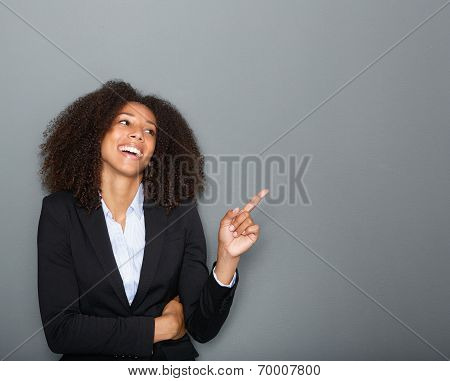 Business Woman Pointing Finger