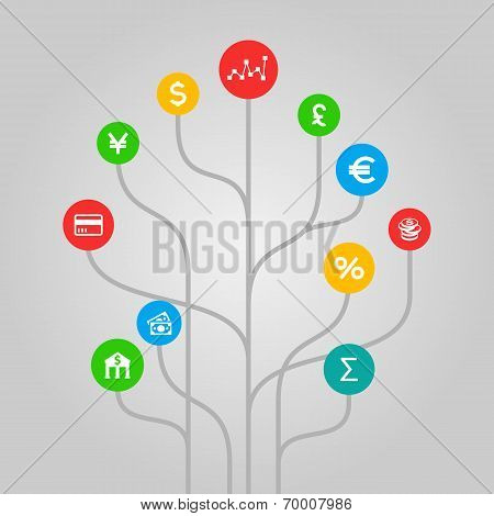 Finances and money  concept - colorful tree illustration