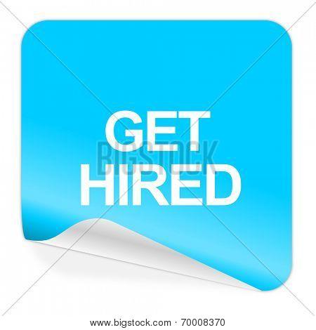 get hired blue sticker icon