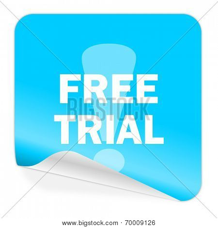 free trial blue sticker icon