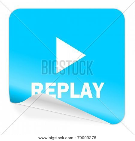 replay blue sticker icon