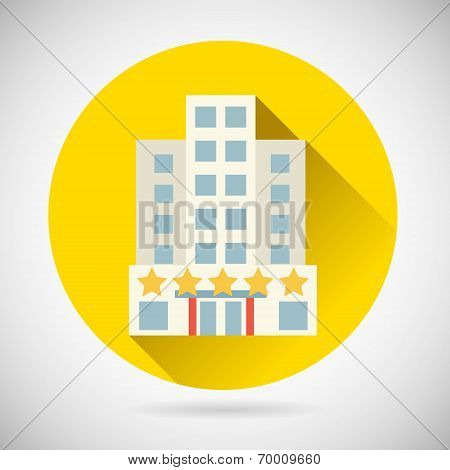 World Trip Symbol Best Star Hotel Inn Rest Icon on Stylish Background Modern Flat Design Vector Illu