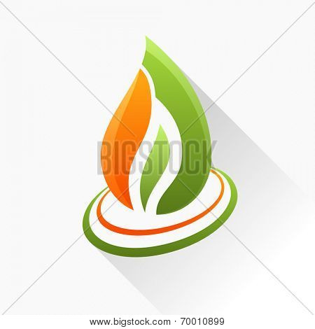 Vector symbol fire. Orange and green flame glass icon with long shadow isolated