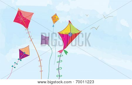 Banner with sky kites and birds horizonta