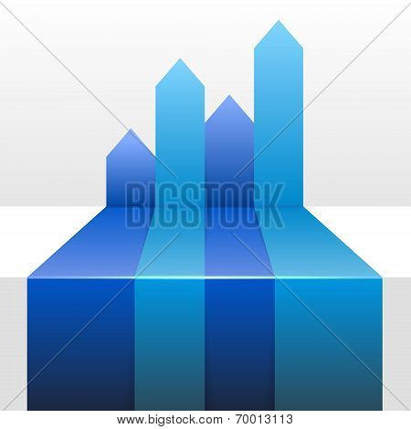Infographic Background with Four Up Blue Arrows. Vector