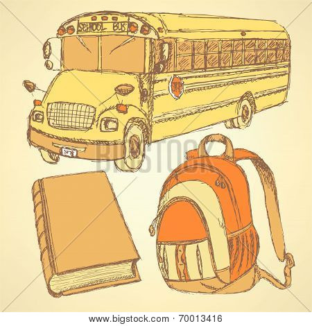 Sketch Backpack, Book And School Bus
