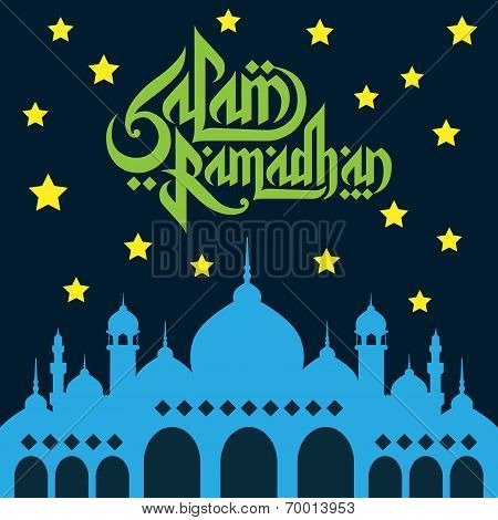 Ramadhan Vector Wish Card With Mosque And Stars