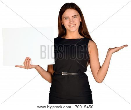 Young smiling woman show blank card