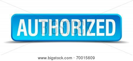 Authorized Blue 3D Realistic Square Isolated Button