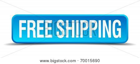 Free Shipping Blue 3D Realistic Square Isolated Button