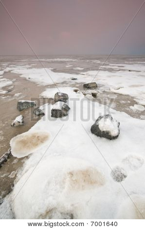 The Wadden Sea With Snow And Ice