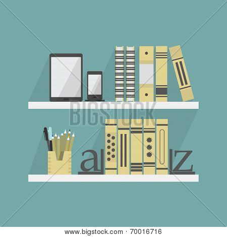 Close up of shelves with some books and accessories - Flat design