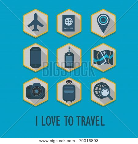 Hexagon travel icons set with long shadow - I Love To Travel