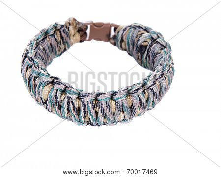 Survival Bracelet made from camouflage Parachute cord using the cobra weave