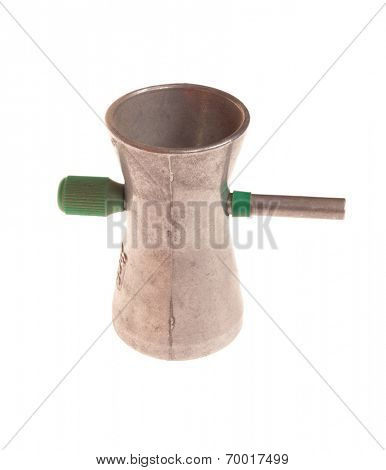 gunpowder trickler dispenser, isolated on white