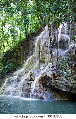 Jamaica. The small river waterfal