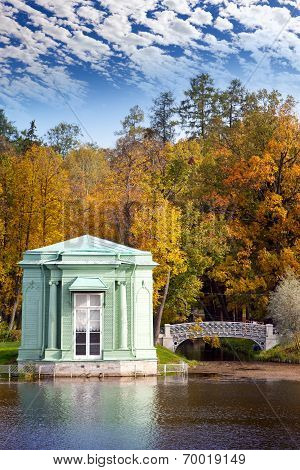 Ancient pavilion on the lake in palace park. Gatchina. Petersburg. Russia.