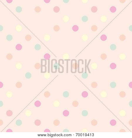 Colorful vector pastel polka dots on baby pink background - retro seamless pattern for backgrounds
