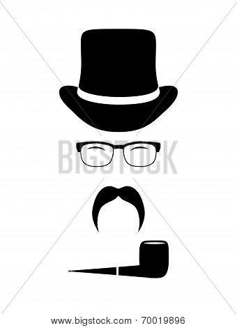 Gentleman Attributes (hats, Eyeglasses, Mustache, Pipe). Vintage Design Elements Set