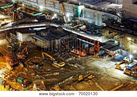 Construction site Aerial Shot at night