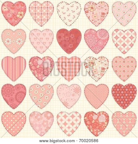 Seamless pattern with collection hearts in vintage patchwork style.