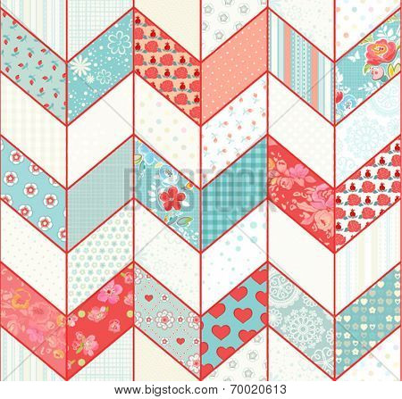 Seamless geometric pattern with zigzags in vintage patchwork style.