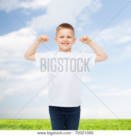 advertising, people, summer and childhood concept - smiling little boy in white blank t-shirt with raised hands over natural background