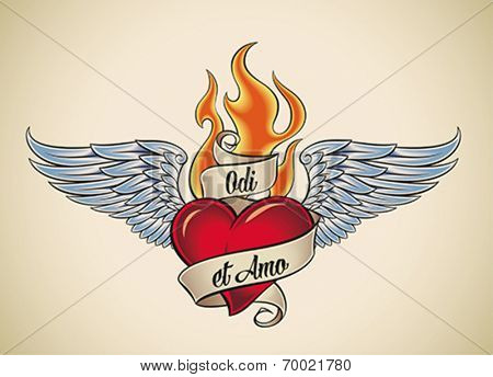 Old-school styled tattoo of a flaming heart with blue wings. The motto Odi et Amo (Latin) means I hate and I love. Editable vector illustration.