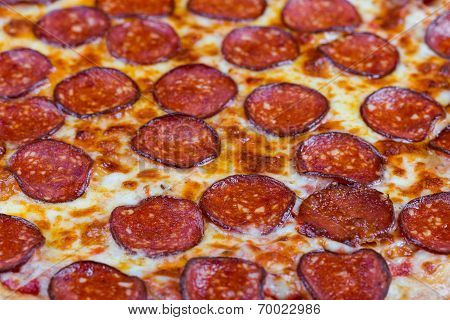 Round Hot Pizza Close Up Top View
