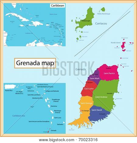 Map of Grenada drawn with high detail and accuracy. Grenada is divided into provinces which are colored with different bright colors.