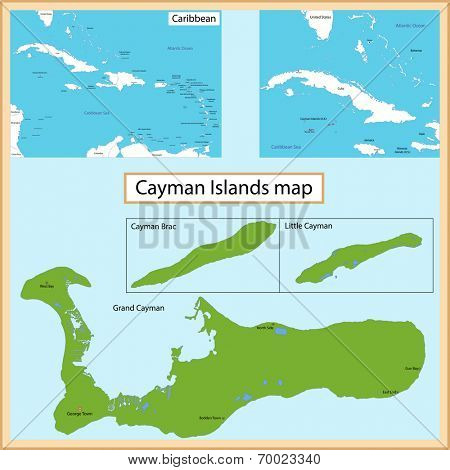 Map of the Cayman Islands islands drawn with high detail and accuracy