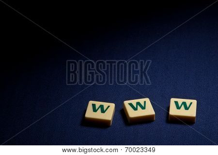 World Wide Web Www Plastic Letter Symbol On Blue Background