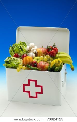 Healthy Food. First Aid Box Filled With Fruits And Vegetables.