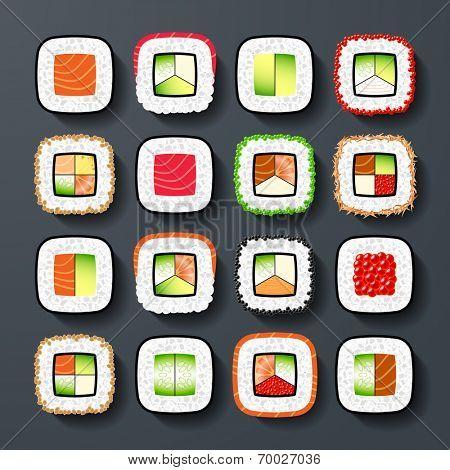 Maki sushi types. Vector.